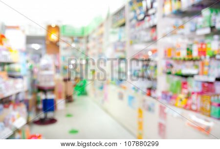 Blurred, Interior Of Drugstore
