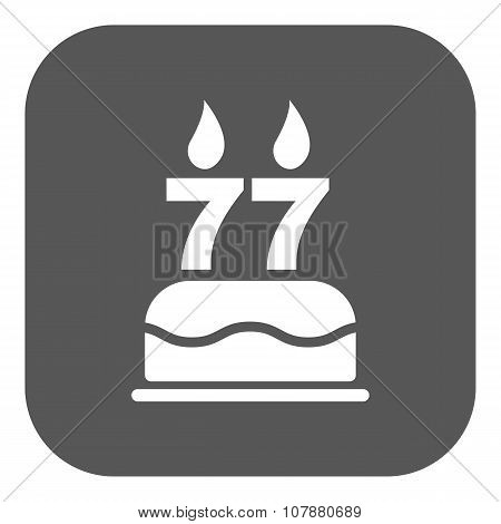 The birthday cake with candles in the form of number 77 icon. Birthday symbol. Flat
