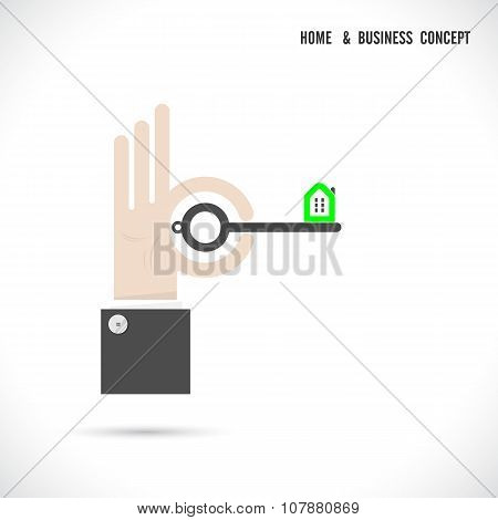 Key And House Icon Abstract Logo Vector Design With Business Concept.corporate Business Creative Log