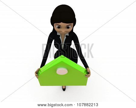 3D Woman Holding Home / House Sign - Symbol Concept