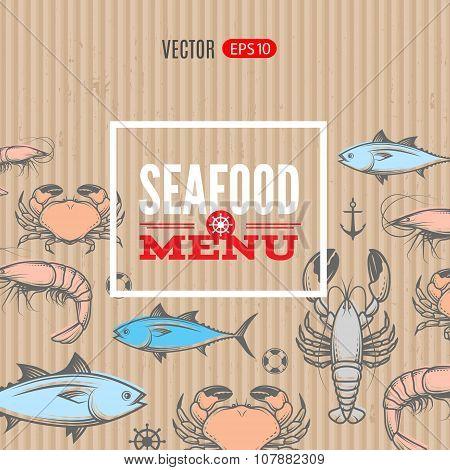 Seafood vector menu