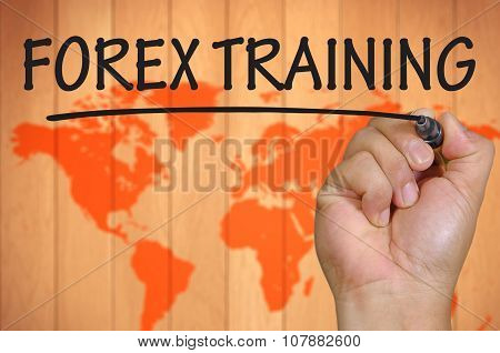 Hand Writing Forex Training Over Blur World Background
