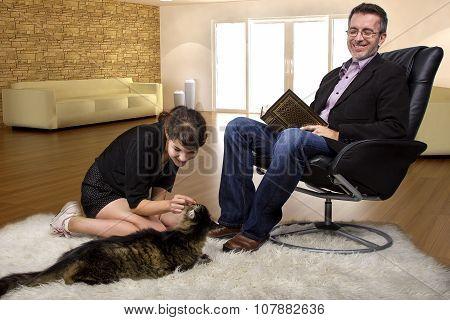 Pet Cat At Home