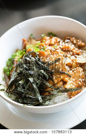 Fried Pork And Rice With Seaweed On Top : Japanese And Korean Food