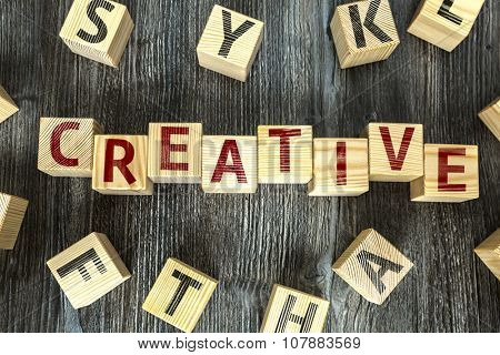 Wooden Blocks with the text: Creative