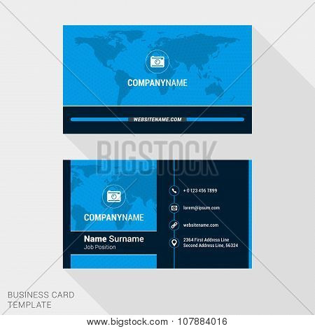 Modern Creative And Clean Business Card Template In Blue Color With World Map. Vector Illustration