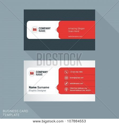 Modern Creative And Clean Business Card Template In Red. Vector Illustration