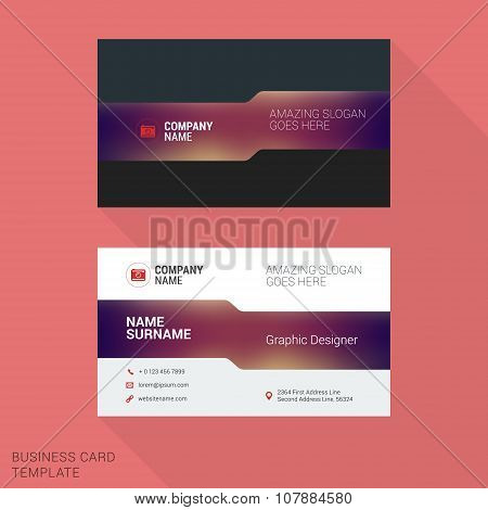 Modern Creative And Clean Business Card Template With Blurred Background. Vector Illustration