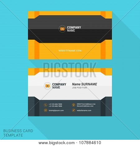 Modern Creative And Clean Business Card Template With Yellow And Gray Flat Style Elements. Vector Il