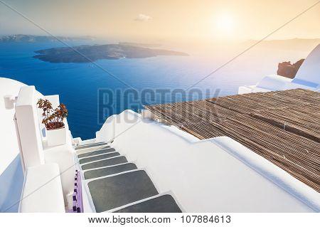 Beautiful Sunset On Santorini Island, Greece