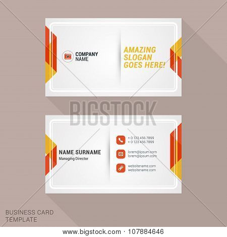 Modern Creative And Clean Business Card Template With Yellow And Red Flat Style Geometric Elements.