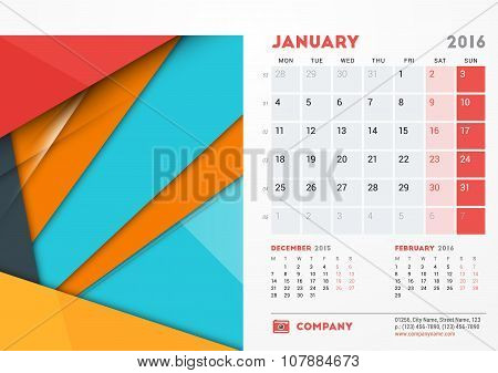 January 2016. Desk Calendar For 2016 Year. Vector Stationery Design Template With Material Design Ab
