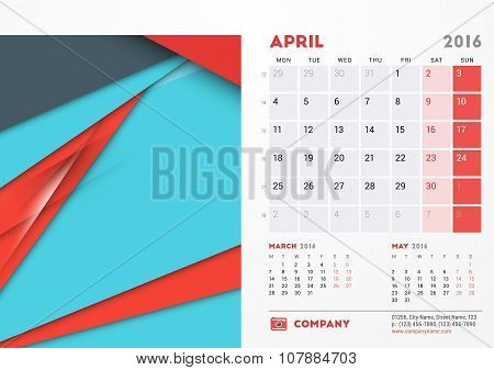 April 2016. Desk Calendar For 2016 Year. Vector Stationery Design Template With Material Design Abst