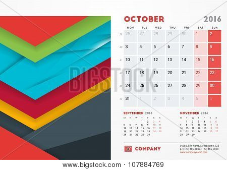 October 2016. Desk Calendar For 2016 Year. Vector Stationery Design Template With Material Design Ab