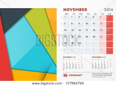 November 2016. Desk Calendar For 2016 Year. Vector Stationery Design Template With Material Design A