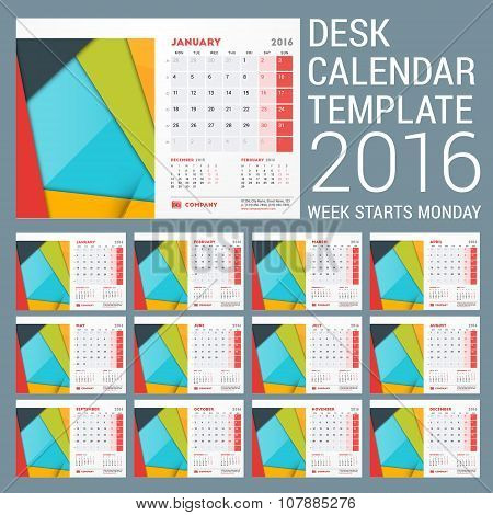 Desk Calendar For 2016 Year. Vector Stationery Design Template With Material Design Abstract Backgro