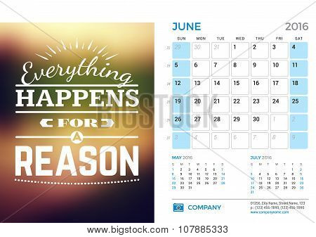 Desk Calendar For 2016 Year. June. Vector Stationery Design Template With Motivational Quote On The