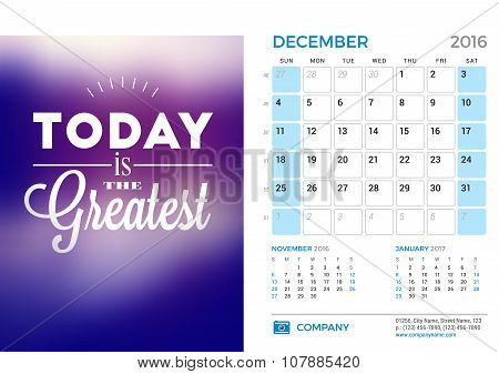 Desk Calendar For 2016 Year. December. Vector Stationery Design Template With Motivational Quote On