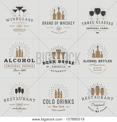 Set Of Hipster Vintage Labels, Logotypes, Badges For Your Business. Beverage, Wine Glasses, Bottles,