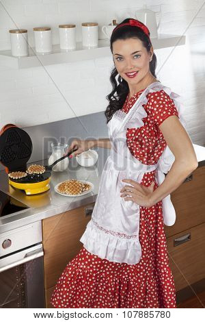 Attractive Housewife Baking Waffles