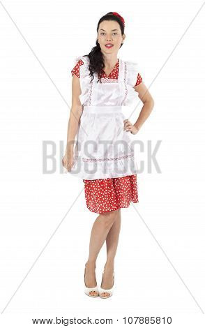 Maid Woman Over White