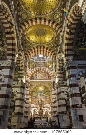 Interior Of Notre-dame De La Garde In Marseilles In France