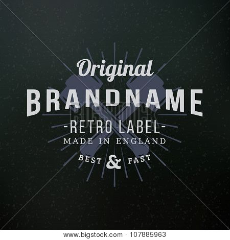 Crossed Sledgehammers. Vintage Retro Design Elements For Logotype, Insignia, Badge, Label. Business