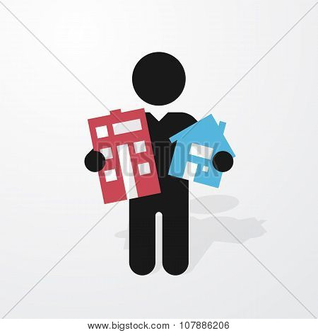 Figure Man Holds Symbol House And Apartment