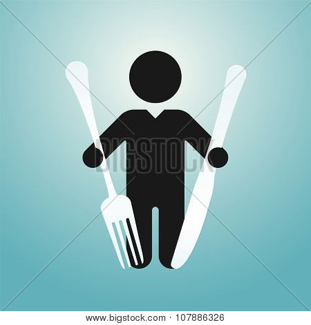 Figure Man Holds Knife And Fork