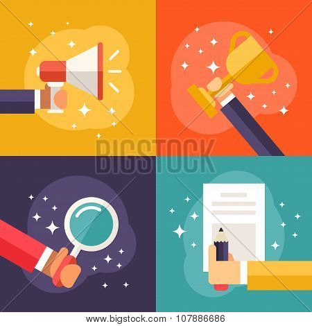 Set Of Flat Vector Business Illustrations. Promotion, Winner, Searching, Contract