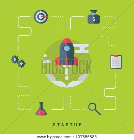 Business Start Up Concept With Rocket. Flat Style Vector Illustration With Business Icons
