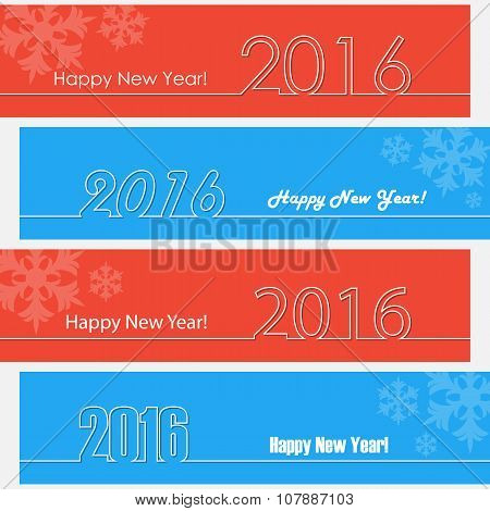 Happy new year 2016 outline design. Happy new year banners.