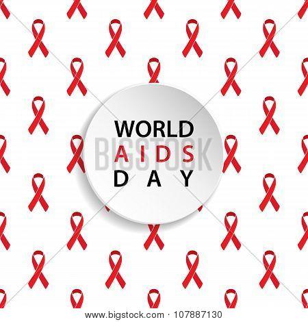 World AIDS Day. Red ribbon seamless pattern.