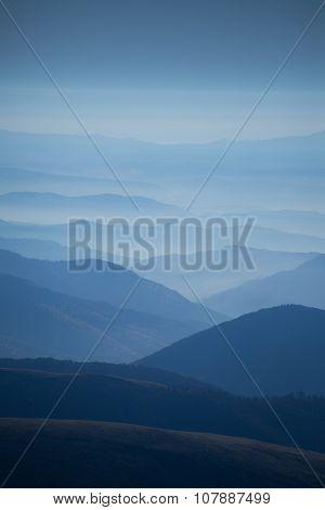 Fog Around The Mountain Top At Night