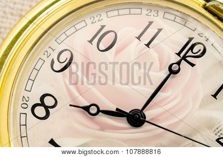 Composite Of Pink Roses And Clock.