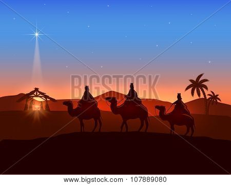Christmas Theme With Three Wise Men And Shining Star