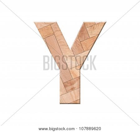 Wooden Parquet Alphabet Letter Symbol - Y. Isolated On White Background