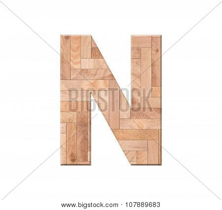 Wooden Parquet Alphabet Letter Symbol - N. Isolated On White Background