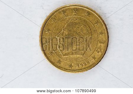 50 Euro Cent Coin With Belgium Backside Used Look