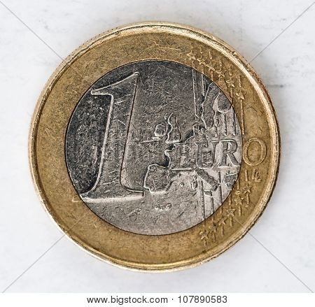 1 Euro Coin With Frontside Used Look