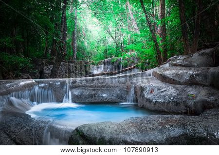 Jangle landscape with Erawan cascade waterfall. Kanchanaburi Thailand