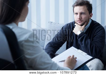 Young Man At Psychologist's Office