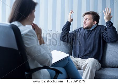 Man With Schizophrenia During Psychotherapy