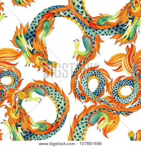 Chinese Dragon Seamless Pattern.