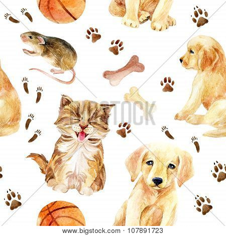 Kitten, Puppy And Mouse Seamless Pattern