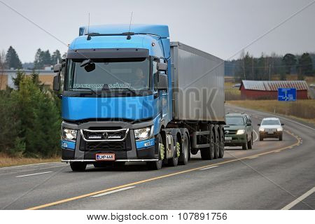 Blue Renault Trucks T Semi On The Road
