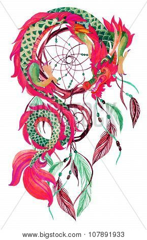 Chinese Dragon  And Dreamcatcher Card.