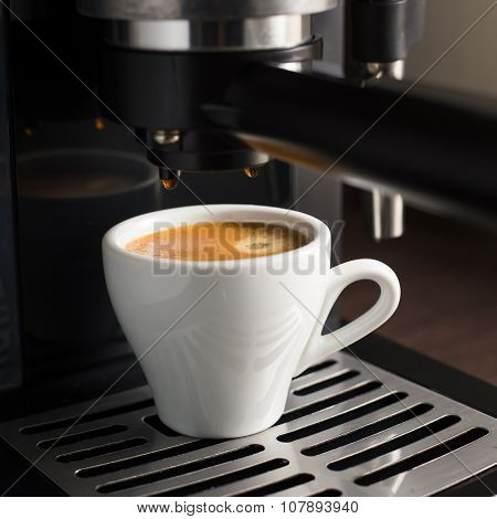 White Ceramic Cup Of Fresh Espresso With Foam