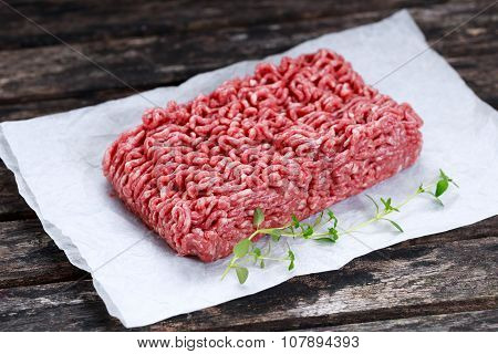 Fresh Raw Minced Beef On Crumpled Paper