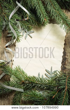 Christmas Tree Branches With Blank Paper Card